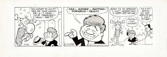 KILGORE, AL -Bullwinkle Daily 9/26 1962, Moose, Boris as cliche JFK & Natasha Comic Art