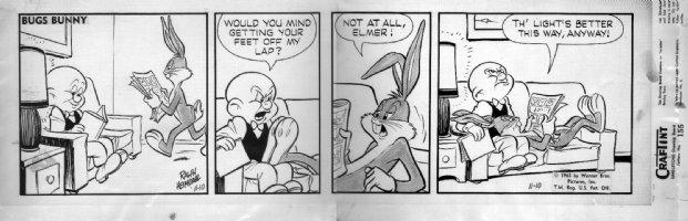 HEIMDAHL, RALPH - Bugs Bunny daily 11/10 1965, Bugs, Elmer, signed Comic Art