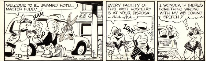 HEIMDAHL, RALPH & AL STOFFEL - Bugs Bunny daily, Bugs Elmer & Sylvester 12/29 1977 Comic Art