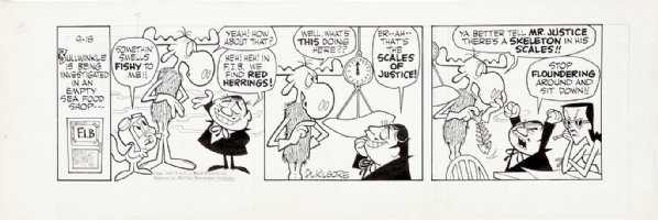 KILGORE, AL - Bullwinkle Daily 9/18 1962, Boris & Natasha fake FIB office w/Moose & Rocky Comic Art