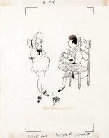 Franchioni,  Francho  Arnoldo - Escapade Mag cartoon for Stan Lee, Jack Horner & pregnant Boo Peep 1960s Comic Art