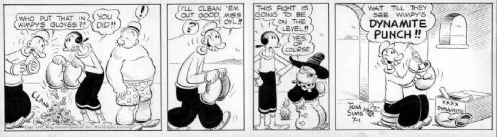 ZABOLY, BILL- Popeye daily 7/1 1947 boxing gloves Comic Art