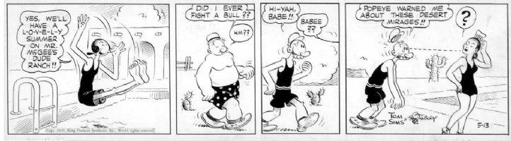 ZABOLY, BILL - Popeye daily 5/13 1947 - Swimsuits Comic Art