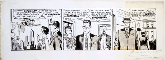 BORING, WAYNE - Superman daily on craft-tint board #8021, Superman & Clark at same time? Lois, Jimmy, Daily Planet - 9/2 1963 Comic Art