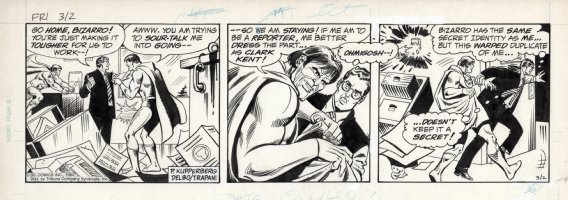 DELBO, JOSE - Superman daily Bizarro & Clark Kent 3/2 1984 Comic Art