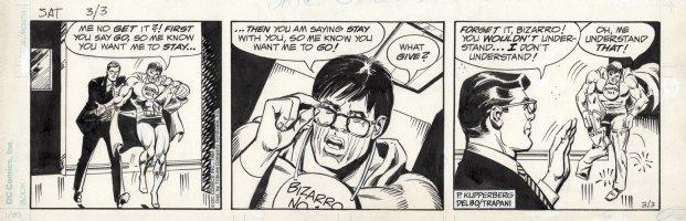 DELBO, JOSE - Superman daily Bizarro / Bizarro Clark & Clark Kent 3/3 1984 Comic Art