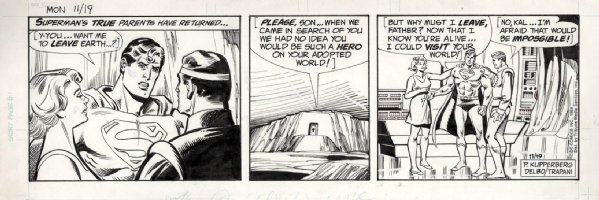 DELBO, JOSE - Superman daily, Supes with Jor-El & lara  11/19 1984 Comic Art