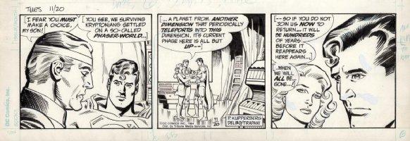 DELBO, JOSE - Superman daily, Supes with Jor-El & lara  11/20 1984 Comic Art