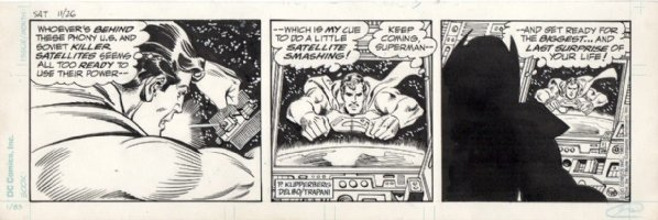 DELBO, JOSE - Superman daily, Supes charges Luthor in space 11/26 1983 Comic Art
