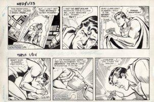 DELBO, JOSE - Superman 2 dailies, Supes trapped in death-tube 1/23 & 1/24 1985 Comic Art
