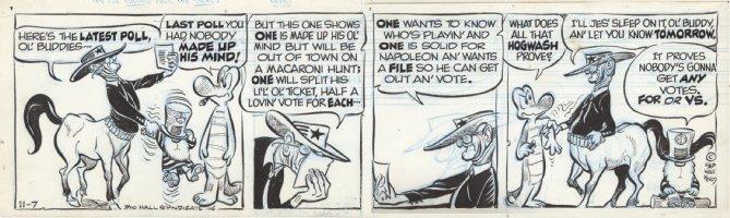 KELLY, WALT - Pogo daily 11/7 1966, Prehysterical saga, Albert & Noah meet LBJ Centaur Comic Art