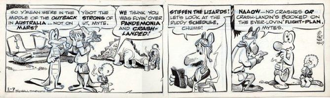 KELLY, WALT - Pogo daily 1/7 1967, Prehysterical saga, Albert, Pogo - crashed in Pandemonia Comic Art