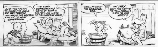 KELLY, WALT - Pogo 1966 daily - 5/3, 2 panels, Pogo bathing, Albert Comic Art