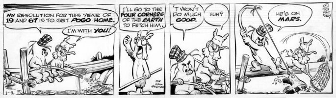 KELLY, WALT - Pogo daily 1/2 1967 , Porky -  Pogo on Mars  Comic Art