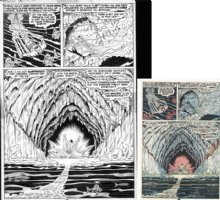 EVERETT, BILL - Sub-Mariner #55 pg 10, splash page. Subby enters an incredible ice-cave Comic Art