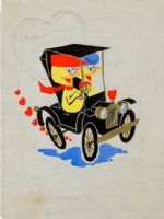 EVERETT, BILL - Greeting Card ink&color art, two ducks driving jelopy, published in book on Bill  Comic Art