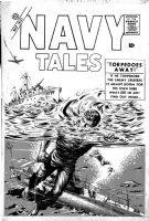 EVERETT, BILL - Navy Tales #1 cover, ocean battle ala Submariner, 1 of only 2 surviving Everett GA Marvel covers 1957 Comic Art
