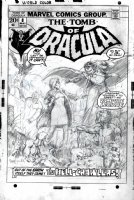 WINDSOR-SMITH, BARRY - Tomb of Dracula #8 cover, un-inked pencils, first version! Dracula & walking dead! 1973 Comic Art