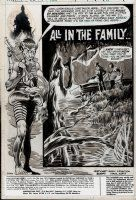 WRIGHTSON, BERNI - House of Mystery #204 pg 1 ink & wash/tones Splash - Cain with Daffy Duck floatation  Comic Art