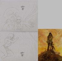 SIM, DAVE - Cerebus Conan pencil design- based on Frazetta cover painting, personalized Comic Art