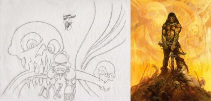 SIM, DAVE - Cerebus Conan top pencil design- based on Frazetta cover painting, personalized Comic Art
