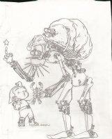 DARROW, GEOF - Frank Miller's Big Guy and Rusty pencil X-Mas cover, Robot Santa Comic Art