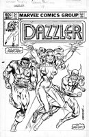 SPRINGER, FRANK - Dazzler #24 cover, poster style with Power Man Iron Fist, Rogue story  Comic Art