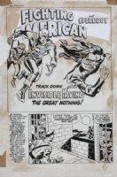 SIMON, JOE - re-inks JACK KIRBY FA #5 1954 story art - Fighting America #2 1966 pg 1, splash, Invisible Irving Comic Art