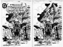 KALUTA, MIKE - House Of Mystery #321 final cover- Cain sells House! shown w&w/o logo Comic Art
