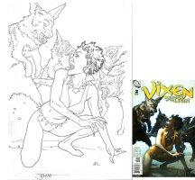 MIDDLETON, JOSHUA #2 cover, Vixen vs wolves Comic Art