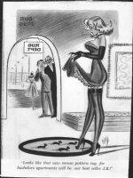 WARD, BILL - Timely/ Humorama Good Girl cartoon, mouse rug Comic Art