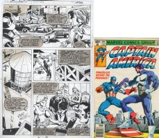 SPRINGER, FRANK / PABLO MARCOS - Captain America #241 pg 22, Cap, Punisher in 1st non-Spidey comic, 1980 Comic Art