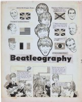 Torres, Angelo - Sick Big Annual title page, Beatleography, 4 Beatles & world figures, 1966 Comic Art