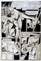 BAKER, MATT - Journey Into Fear #1 pg 1 horror splash ,  Was He Death-Proof  monstrous man captures woman, drawn 1946-49 signed Comic Art