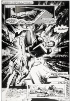 BUCKLER, RICH - Astonishing Tales #34 pg 6, an explosive splash page as Deathlok takes the brunt of a bomb blast! Comic Art