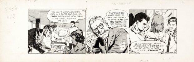 ADAMS, NEAL - Ben Casey daily, Casey in hospital scene 12/13 1962 Comic Art