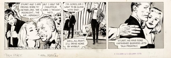 ADAMS, NEAL - Ben Casey daily 7/7 1967 daily, Ben sees Blonde Date & Dad - final days of strip Comic Art