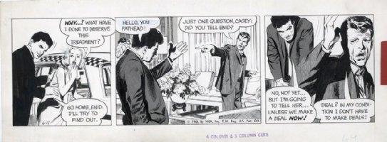 ADAMS, NEAL - Ben Casey 6-4 1966 daily, Ben puts blonde in cab Comic Art