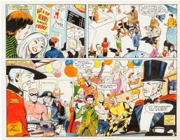 ADAMS, NEAL signed / DICK AYERS  - Food Magazine ink & color Double-Splash - costume party w/ Phantom, Batman, Joker, Kamandi, Mandrake+ 1977 Comic Art