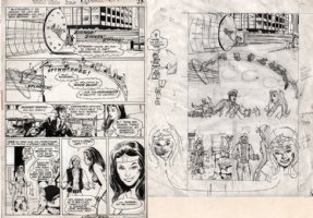 ADAMS, NEAL signed / DICK GIORDANO - Wonder Woman #220 pg 15 & prelim set - WW vs Chronos, 1975 Comic Art