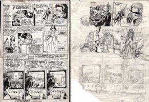 ADAMS, NEAL signed / DICK GIORDANO - Wonder Woman #220 pg 5 + Prelim pg set, Diana Prince becomes Wonder Woman, 1975 Comic Art