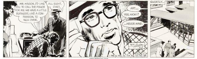 ADAMS, NEAL - Ben Casey daily, 4/5 1966, detailed art - last months of comic strip Comic Art
