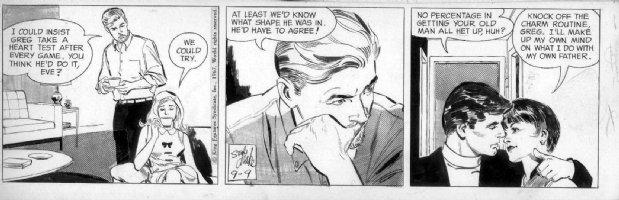 ADAMS, NEAL / STAN DRAKE Studio - Juliet Jones daily 9/9 1967, Eve,  Joe Mamath -ish football story Comic Art