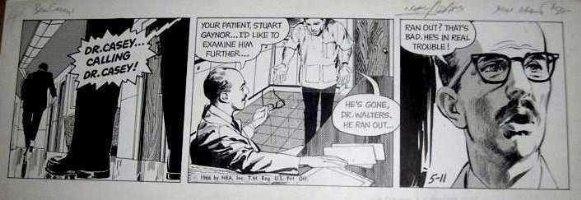 ADAMS, NEAL - Ben Casey daily, 5/11 1966, calling Dr Casey ! Comic Art