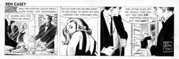 ADAMS, NEAL - Ben Casey 4-23 1965 daily, Elaine in black dress Comic Art