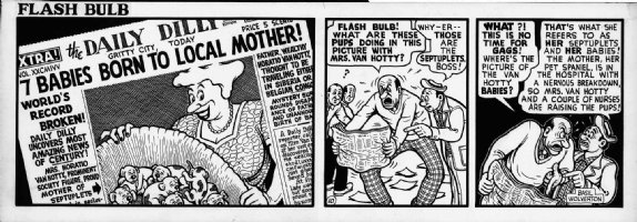 WOLVERTON , BASIL- Flash Bulb daily #10 of only 12, editor & photographer- big panel - 7 puppies 1950s Comic Art