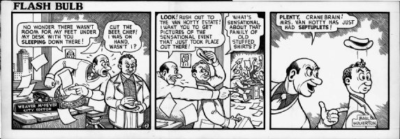 WOLVERTON , BASIL- Flash Bulb daily #2 of only 12, editor & photographer 1950s Comic Art
