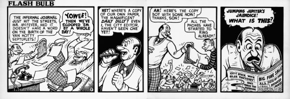 WOLVERTON , BASIL- Flash Bulb daily #9 of only 12, editor & mad  Septuplets  headline  1950s Comic Art