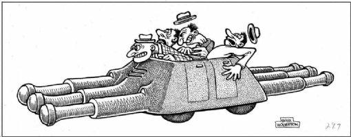 WOLVERTON, BASIL - Life Magazine Cartoon April 1956 pg 70, Quad car cartoon Comic Art
