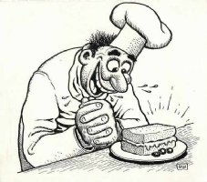 WOLVERTON, BASIL - Magazine Cartoon - Chef: lighter side of making a sandwich 1950s Comic Art